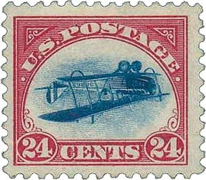 Airmail, 1918, 24c carmine rose & blue, center inverted (C3a), position 89