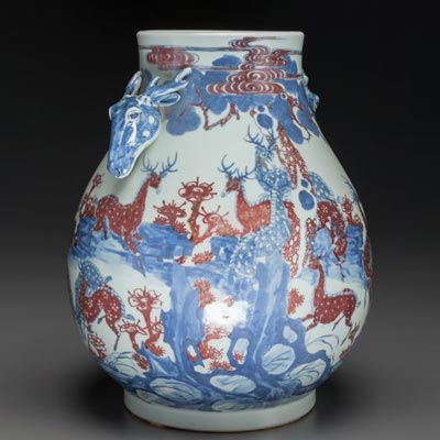 An Underglaze Blue and Copper-Red 'Deer' Vase Qianlong six-character mark