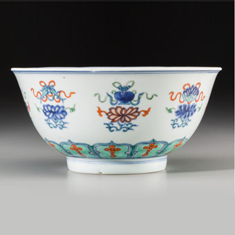 An Exceptionally Rare Chinese Doucai Bajixiang Porcelain Bowl, Ming Dynasty, Jiajing (1521-1567) or Possibly Wanli Period, circa 1573-1620