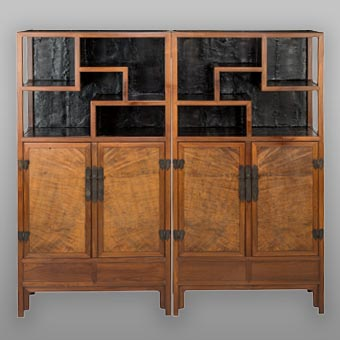 A Pair of Chinese Hardwood and Burlwood Display Cabinets, Qing Dynasty, 18th century