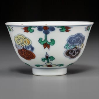 A Chinese Doucai Porcelain Cup, Qing Dynasty, Kangxi Period, circa 1662-1722