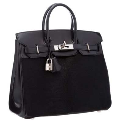 Hermes Limited Edition 28cm Black Ponyhair & Evercalf Leather Troika HAC Birkin Bag with Palladium Hardware