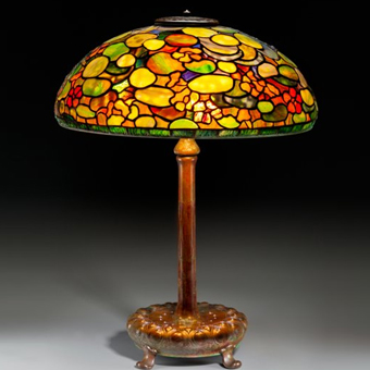 A Tiffany Studios Nasturtium Leaded Favrile Glass and Bronze Table Lamp