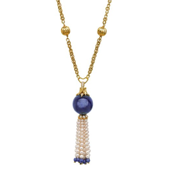 Cartier Gold, Lapis Lazuli, Cultured Pearl and Diamond Necklace