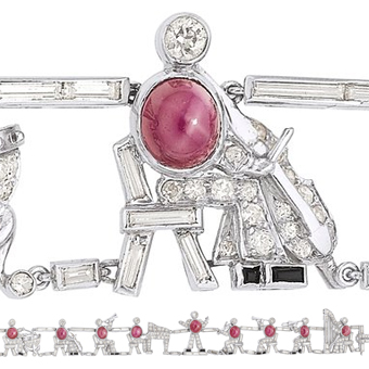 Star Ruby, Diamond, Platinum Bracelet, Ruser
