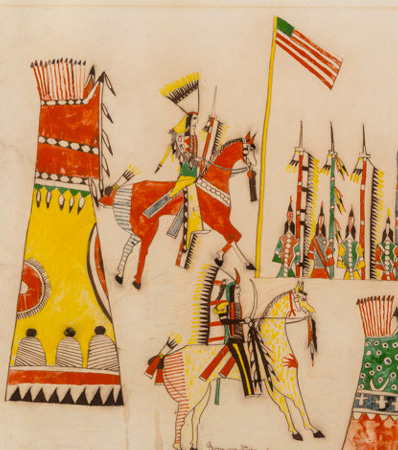 A Southern Cheyenne Ledger Drawing