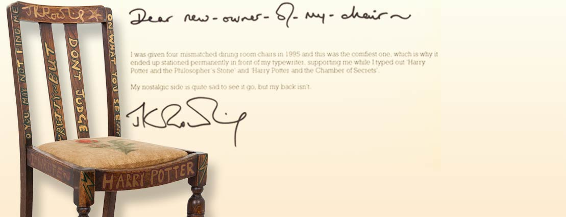 Chair Used by J.K. Rowling whilst Writing the First Two Harry Potter Books, Later Hand-Painted and Signed by Rowling Herself.