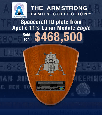 Spacecraft ID plate from Apollo 11's Lunar Module Eagle
