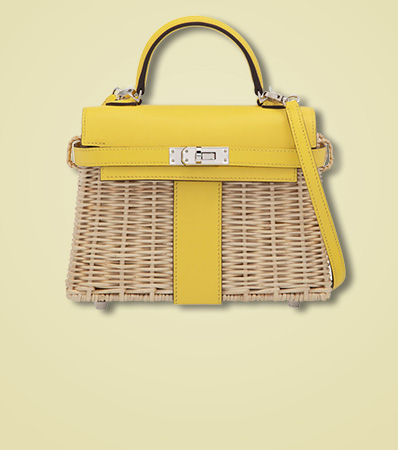 Hermès Jaune de Naples Swift Leather & Osier Wicker Mini Kelly Picnic with Palladium Hardware