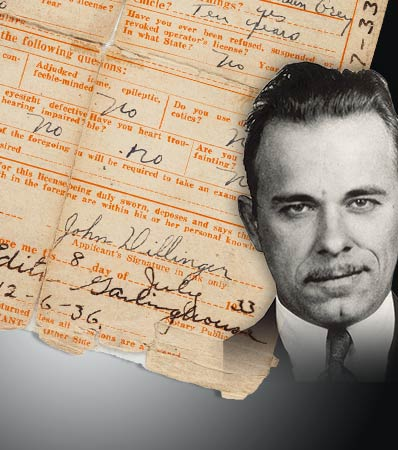 John Dillinger Driver's License Application Signed