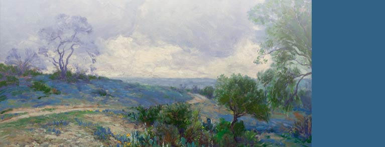 Julian Onderdonk (American, 1882-1922) Texas Landscape with Bluebonnets