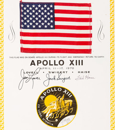 Apollo 13 Flown American Flag on a Crew-Signed Certificate