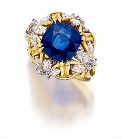 Kashmir Sapphire, Diamond, Platinum, Gold Ring, Schlumberger for Tiffany & Co.