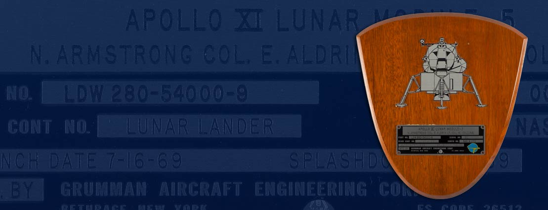 The Neil Armstrong Family Collection: Spacecraft ID plate from Apollo 11's Lunar Module Eagle