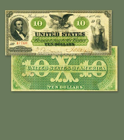 United States of America - Fr. 10 $10 1861 St. Louis Demand Note PCGS Very Fine 30