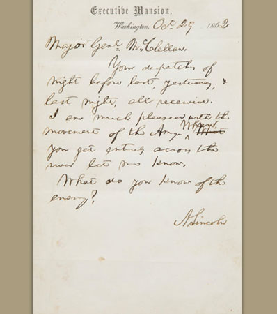 Abraham Lincoln's last letter to General McClellan before firing him
