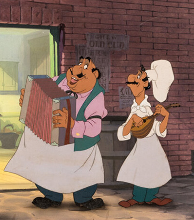 Lady and the Tramp 'Bella Notte' Production Cel and Master Background VIP Setup (Walt Disney, 1955)