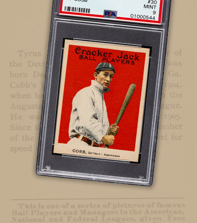 One of Three Graded Mint 9 with None Higher! 1915 Cracker Jack Ty Cobb #30 PSA Mint 9