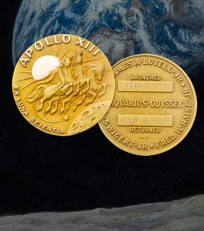 Apollo 13 Flown Gold Robbins Medallion Originally from the Personal Collection of Mission Command Module Pilot Jack Swigert