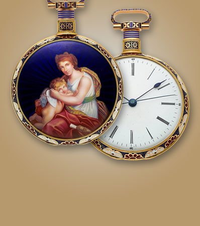 Bovet à Fleurier (Attributed) A Highly Important Superior Quality Gold And Enamel Center Seconds Pocket Watch