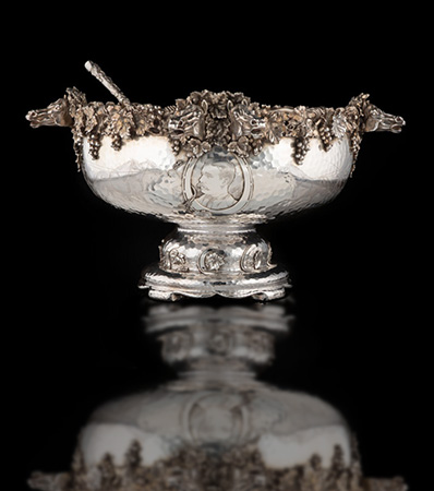 A Tiffany & Co. Partial Gilt Silver Punch Bowl and Ladle Driving Trophy, New York, 1881