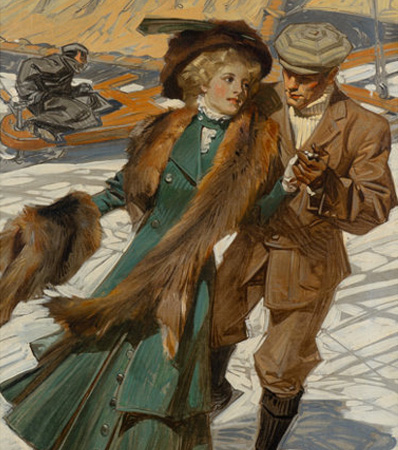 Joseph Christian Leyendecker | Ice Skaters, The Popular Magazine cover, March 1909