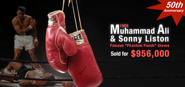 1965 Muhammad Ali & Sonny Liston Fight Worn Gloves-Both Pairs from the Famous