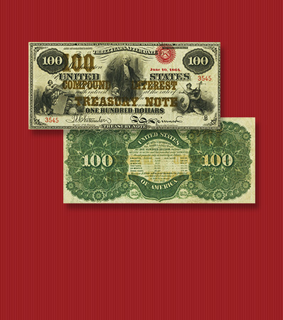 Fr. 193 $100 1863 Compound Interest Treasury Note PMG Very Fine 30 EPQ