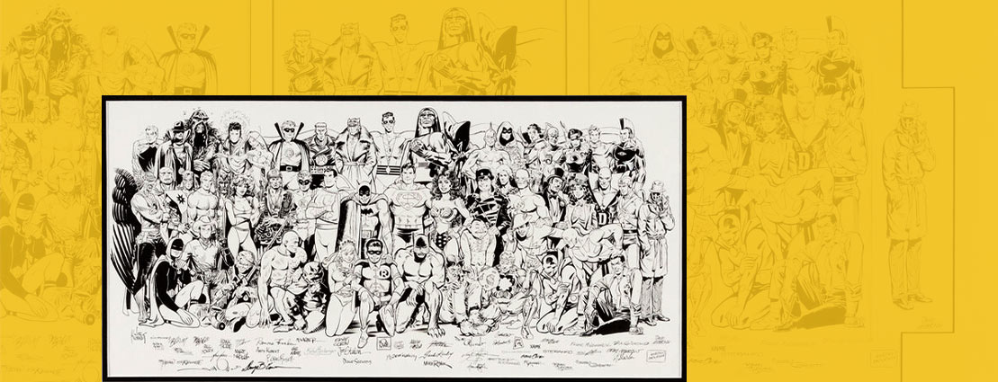 Jack Kirby, Joe Kubert, and Others History of the DC Universe Hardcover Collection Gatefold Poster Jam Illustration Original Art (DC/Graphitti Designs, 1988)