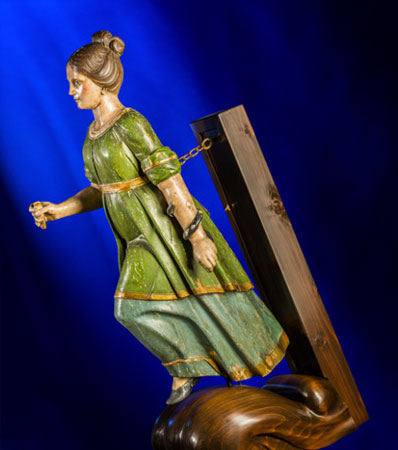 An English Carved and Polychromed Wood Ship's Figurehead: Byzantine Woman, mid-late 19th century