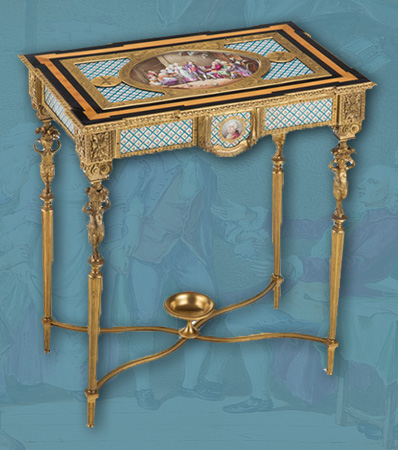A Napoleon III Gilt Bronze Mounted Sèvres-Style Porcelain Side Table, 19th century
