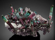 'big= beauty' tourmaline with quartz albite on= lepidolite