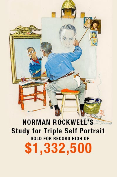 Norman Rockwell (American, 1894-1978) | Study for Triple Self Portrait, 1960 Sold for $1,332,500