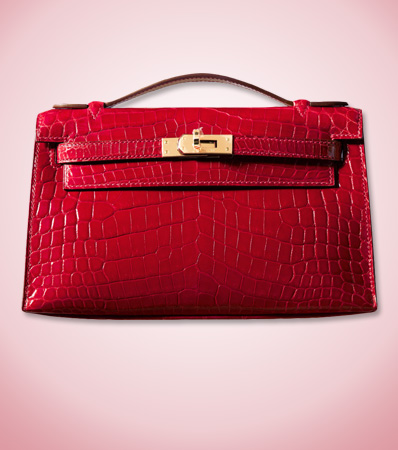 Hermès Shiny Braise Niloticus Crocodile Kelly Pochette with Gold Hardware