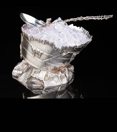 A Gorham Mfg. Co. Barrel-form Silver Ice Bucket with Spoon, Providence, Rhode Island, 1872