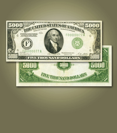 Serial Number 77 1928 $5,000 Federal Reserve Note