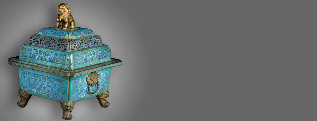 A Large and Extremely Rare Chinese Imperial Cloisonné and Gilt Bronze Censer and Cover, Qing Dynasty, 18th Century