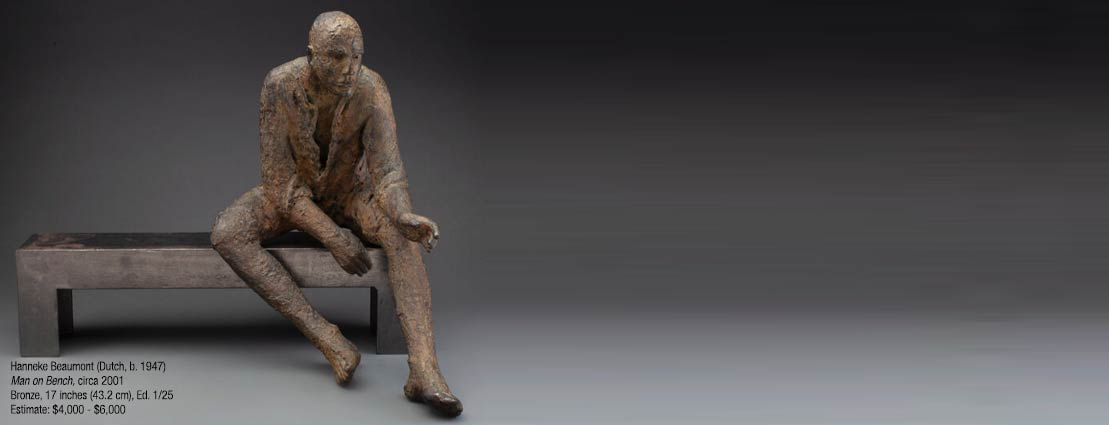 A Hanneke Beaumont Man on Bench Bronze Sculpture, circa 2001
