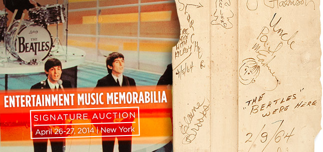 Entertainment Music Memorabilia Signature Auction - April 26-27, 2014 New York