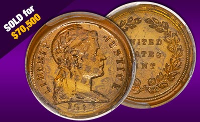 Historic glass U.S. penny sold for $70,500 at Heritage Auctions