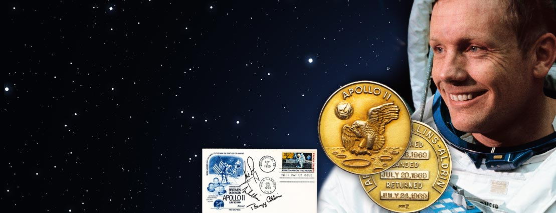 Neil Armstrong's One and Only Apollo 11 Lunar Module Flown MS67 NGC 14K Gold Robbins Medal Directly From The Armstrong Family Collection™, CAG Certified.