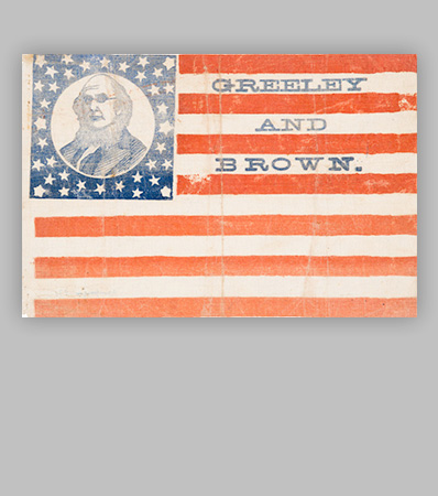 Horace Greeley: Monumentally Important 1872 Portrait Flag Banner
