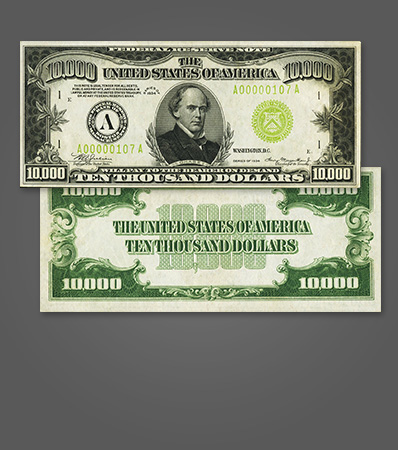 Fr. 2231-A $10,000 1934 Federal Reserve Note. PMG About Uncirculated 55.