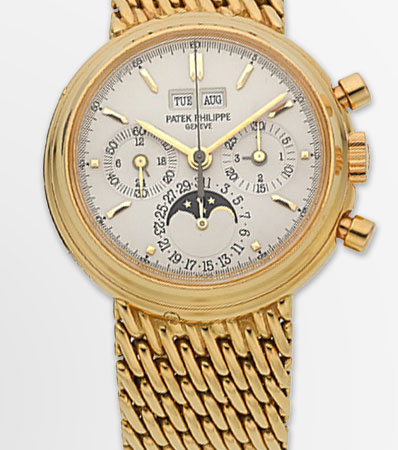 Patek Philippe Very Fine Ref. 3970/002 Yellow Gold Perpetual Calendar With Chronograph, Moon Phase, Leap Year & 24 Hour Indication, circa 1994