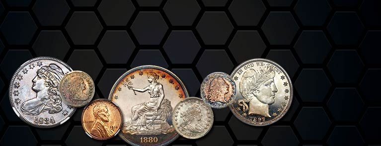 Featured coins in various sizes for the upcoming ANA US Coins Auction