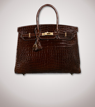 Hermes 35cm Shiny Chocolate Porosus Crocodile Birkin Bag with Gold Hardware