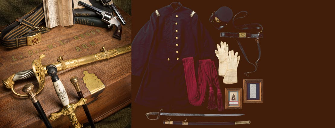Fantastic Civil War Archive of Personal Items Belonging to Lt. Colonel William L. Gross, Assistant Superintendent of the United States Military Telegraphs Including His Presentation Sword, Inscribed Revolvers, Letters, Documents and Much More Acquired Directly From the Family.