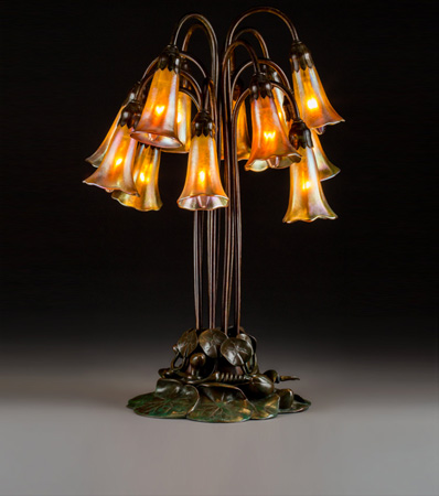 Tiffany Studios Favrile Glass and Bronze Twelve-Light Lily Lamp
