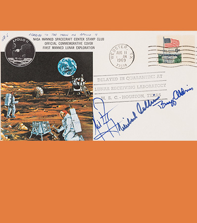 Apollo 11 Flown Crew-Signed 'Type One' Quarantine Cover, Hand-numbered NA-5 and Certified by Neil Armstrong