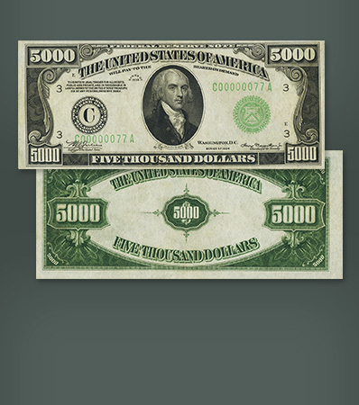Fr. 2221-C $5,000 1934 Federal Reserve Note. PMG About Uncirculated 55.